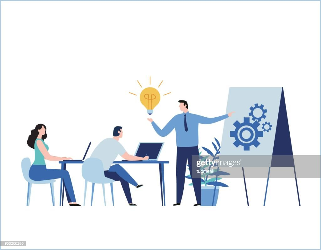 Professional training flat vector illustration. education business concept. tutorial presentation course. Expertise, skill development design for banner mobile and web online graphics