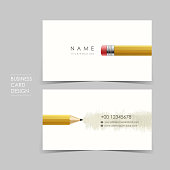 professional vector business card set with pencil