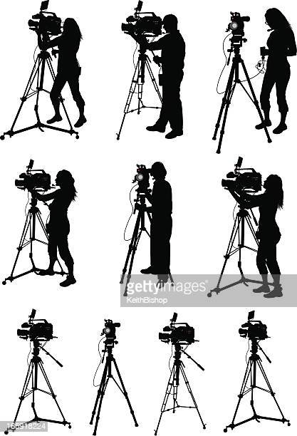 professional video equipment - videographer - camera tripod stock illustrations, clip art, cartoons, & icons