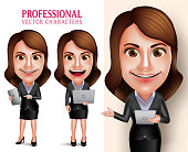 Professional Woman Character with Business Holding Mobile Tablet and Laptop