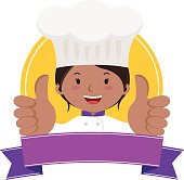 Professional woman chef thumbs up