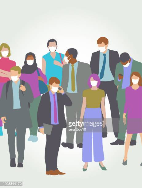 ilustraciones, imágenes clip art, dibujos animados e iconos de stock de profesionales con mascarillas faciales médicas - epidemia