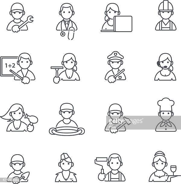 illustrations, cliparts, dessins animés et icônes de icônes de professions fine ligne. - chauffeur routier