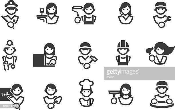 illustrations, cliparts, dessins animés et icônes de icônes de professions - chauffeur routier