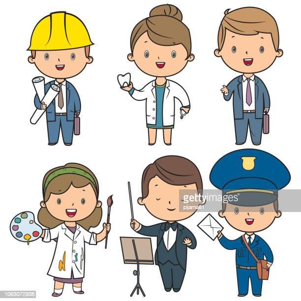 illustrations, cliparts, dessins animés et icônes de ensemble d'enfants de professions - facteur