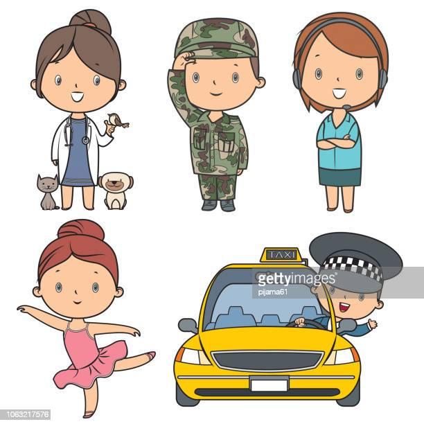 ilustraciones, imágenes clip art, dibujos animados e iconos de stock de embroman el sistema de profesiones - taxista