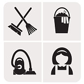 Professions. Maid. Cleaning women. People at work. Set. Vector icon.
