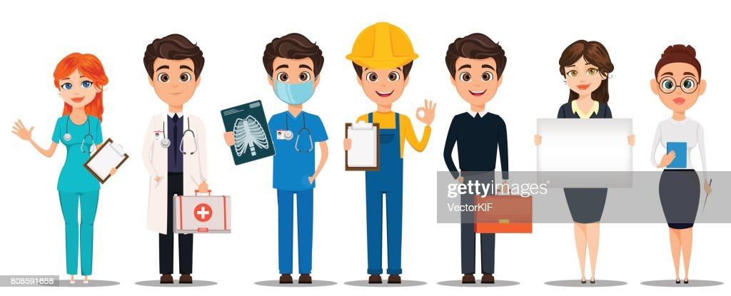 Professions. Set of cartoon characters. Doctors, builder, business man, business woman and teacher. Vector illustration
