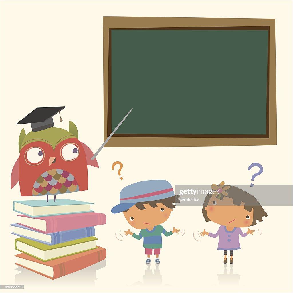 Professor owl and Student : stock illustration