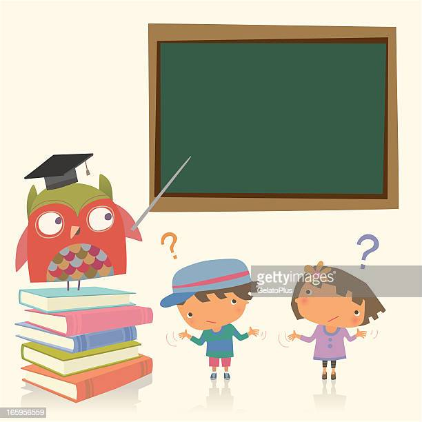 professor eule und studenten - dozenten stock-grafiken, -clipart, -cartoons und -symbole