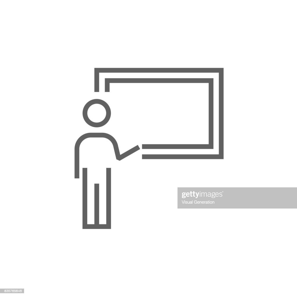 Professor pointing at blackboard line icon