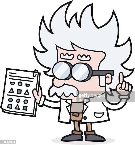 professor mit-iq-test - physics stock-grafiken, -clipart, -cartoons und -symbole
