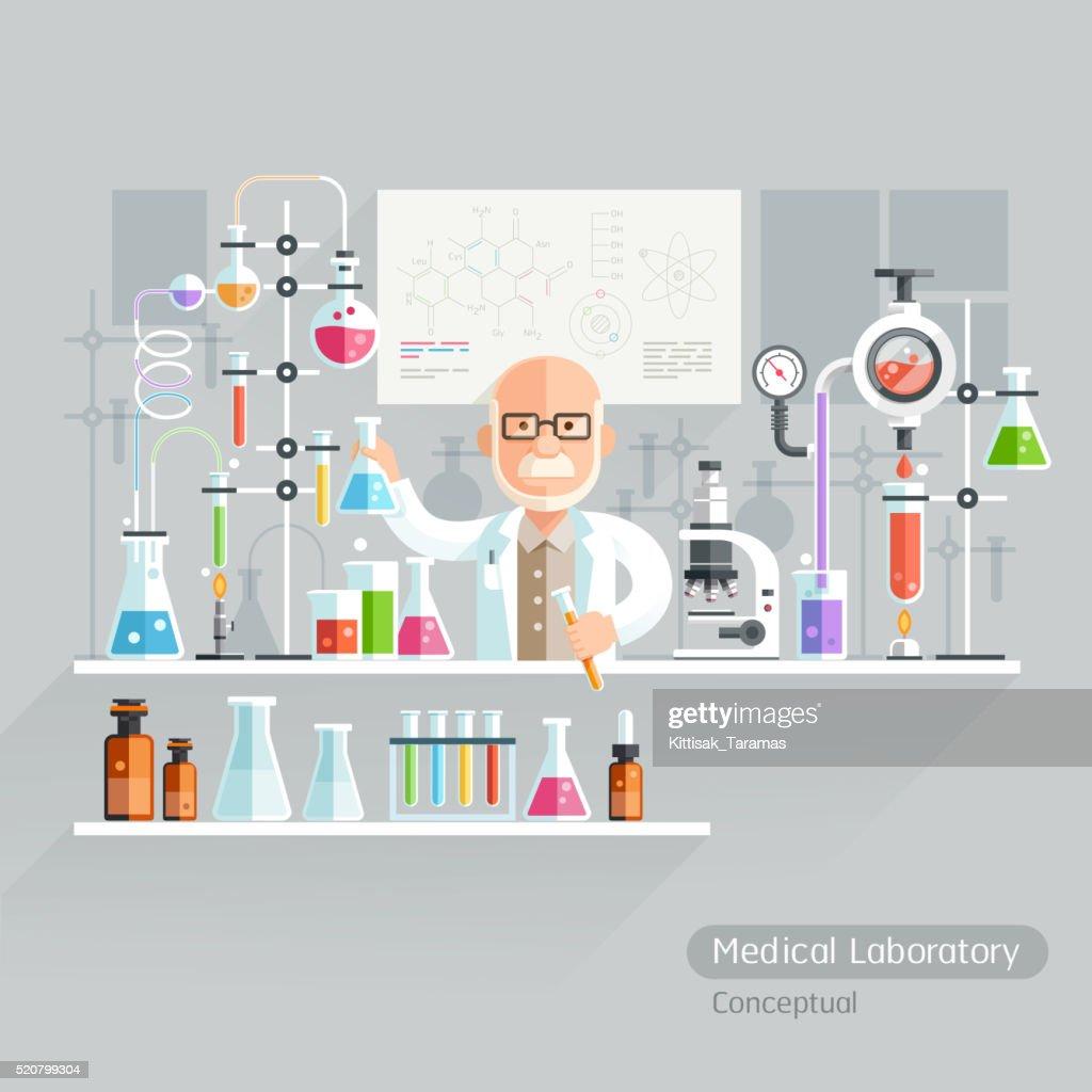 Professor Working on Medical Laboratory.