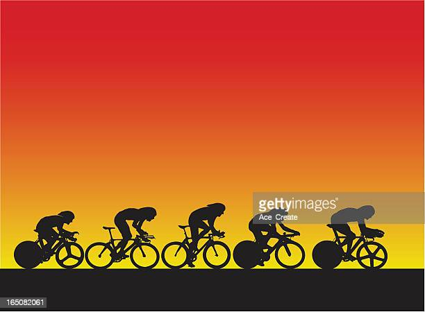proffesional cyclists - racing bicycle stock illustrations