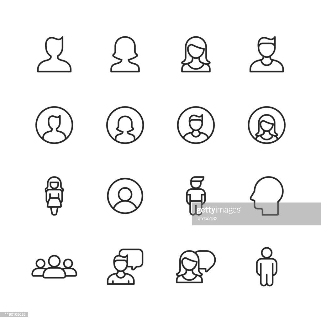Icone profilo e linea utente. Tratto modificabile. Pixel Perfetto. Per dispositivi mobili e Web. Contiene icone come Profilo, Utente, Social Media, Membro, Comunicazione, Avatar, Assistenza Clienti, Umano. : Illustrazione stock