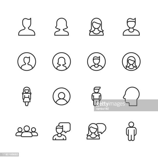profile and user line icons. editable stroke. pixel perfect. for mobile and web. contains such icons as profile, user, social media, member, communication, avatar, customer support, human. - using phone stock illustrations
