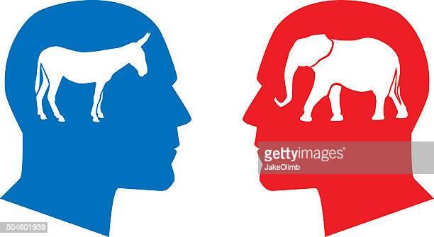 profile democrat republican - donkey stock illustrations, clip art, cartoons, & icons