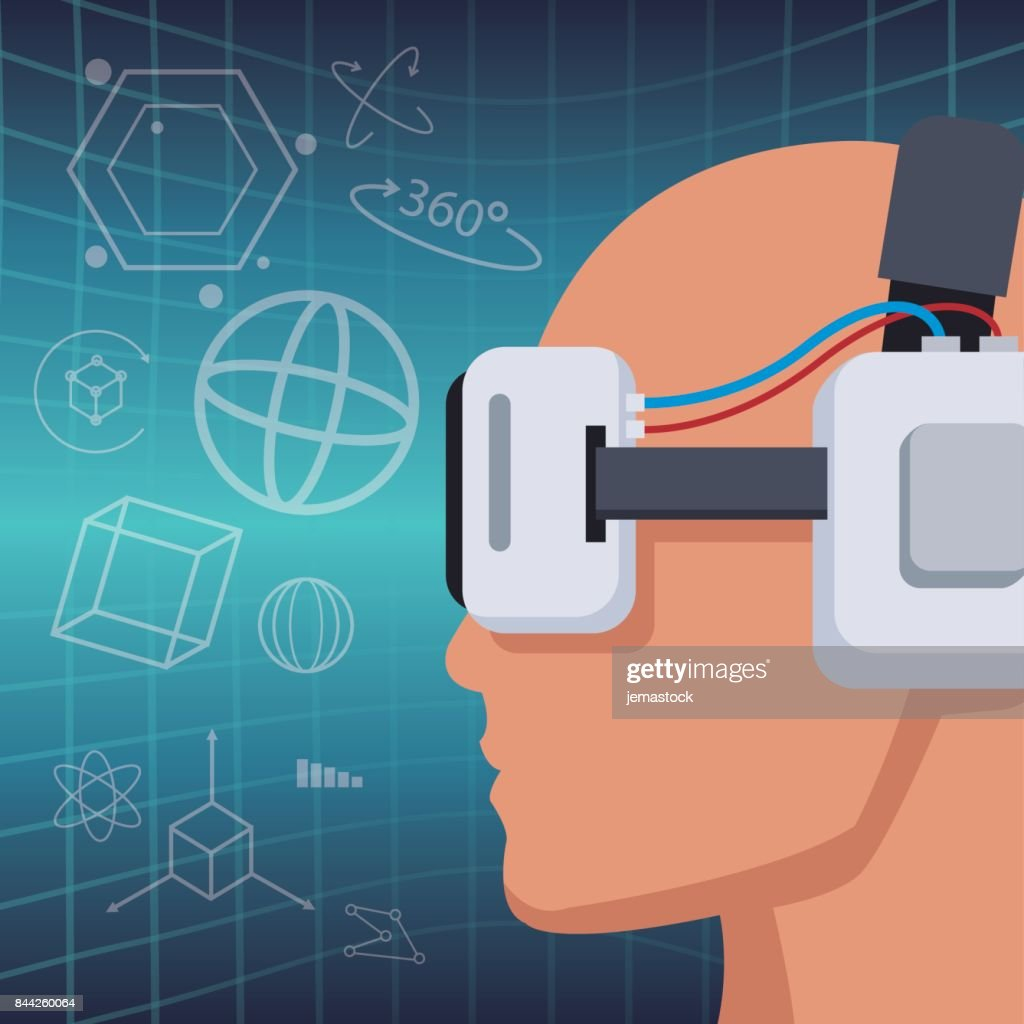 profile head with headset virtual reality vision 3d background