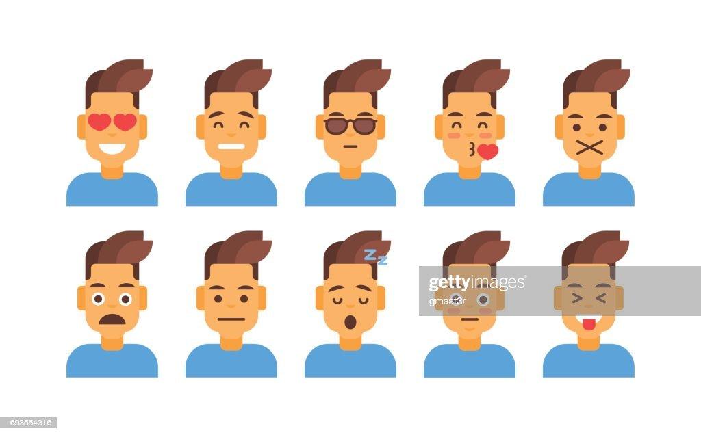 profile icon male different emotion set avatar man cartoon portrait