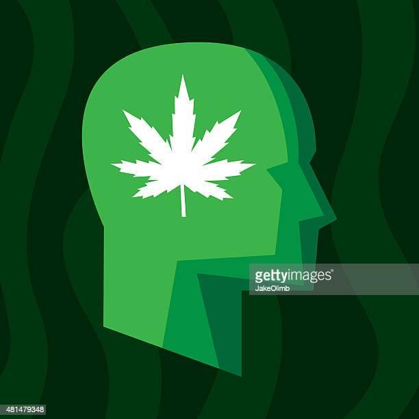 profile marijuana stylized - cannabis plant stock illustrations, clip art, cartoons, & icons