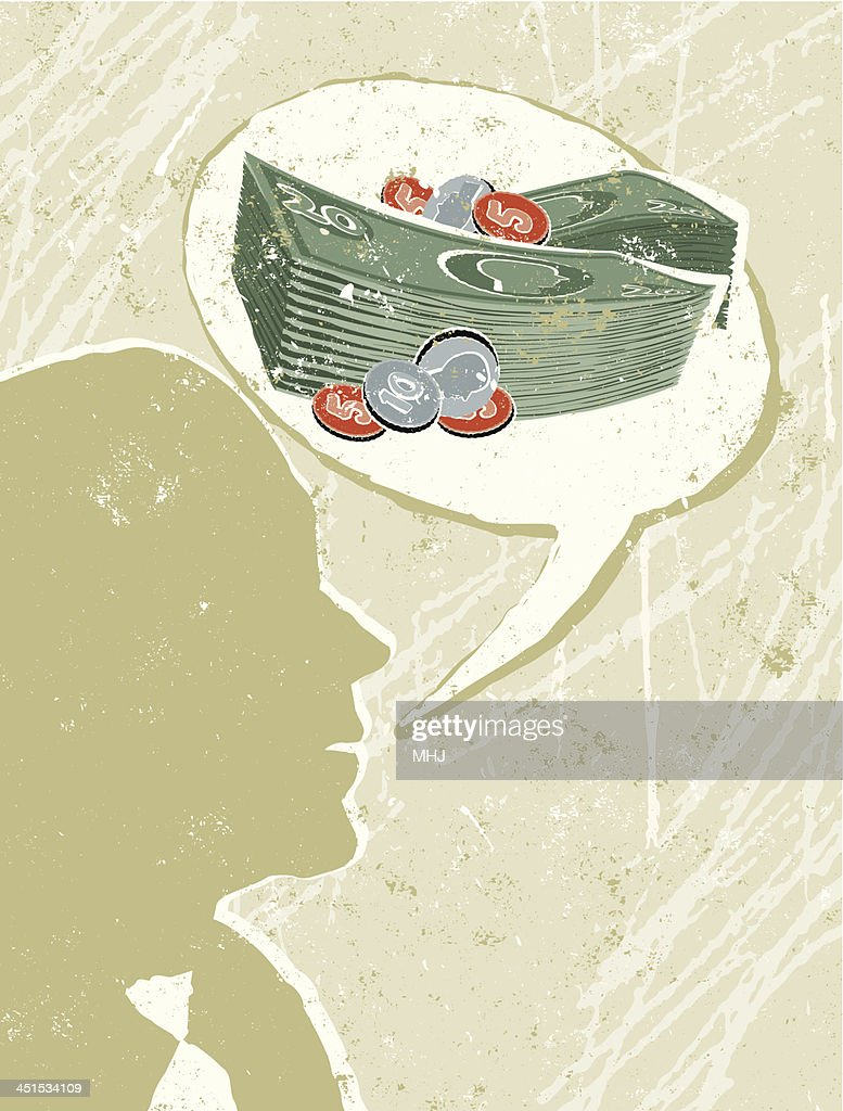 Profile of a Businessman Talking with Money Speech Bubble : stock illustration