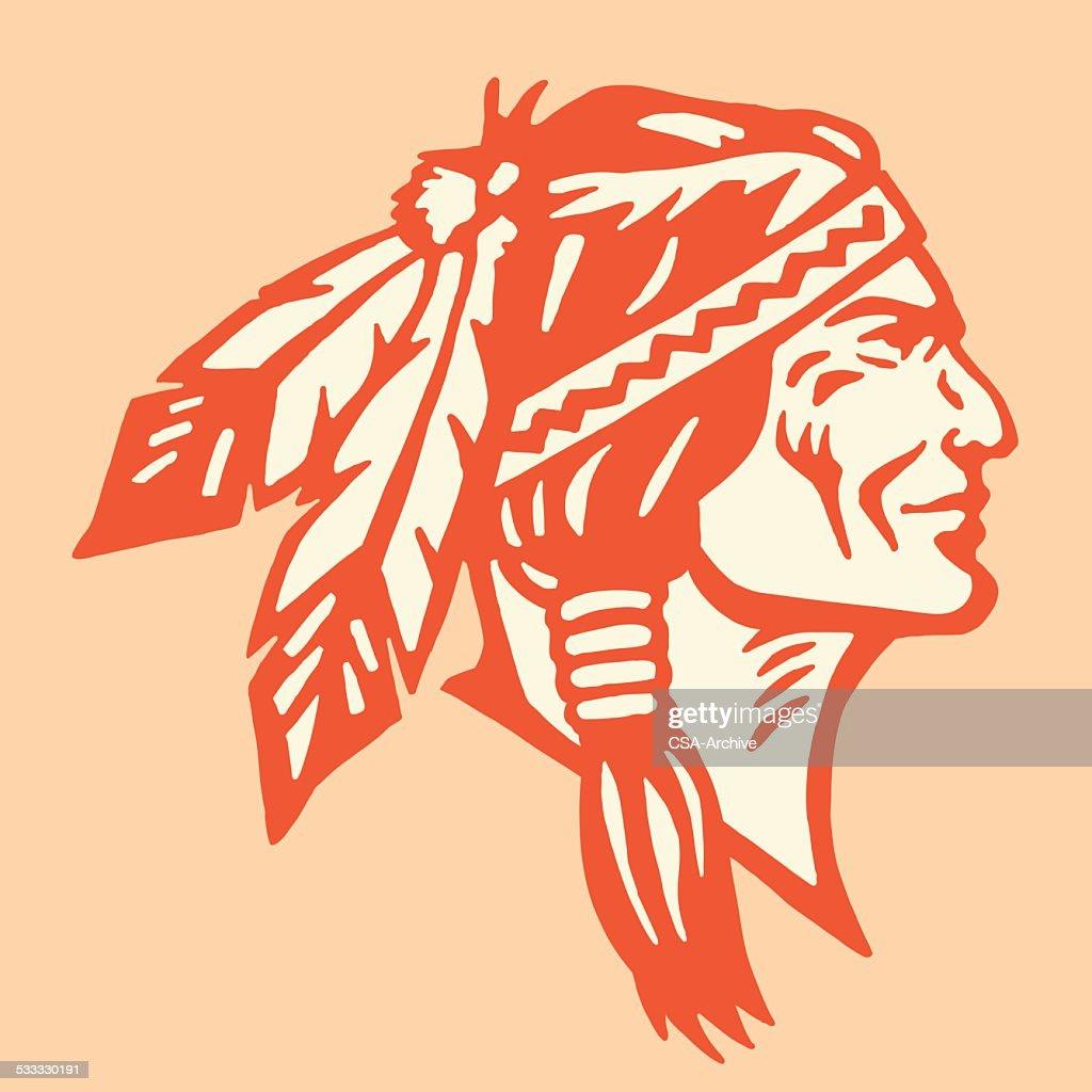 Profile of a Native American Man : stock illustration