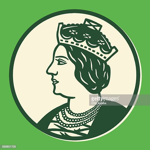 profile of queen - head of state stock illustrations