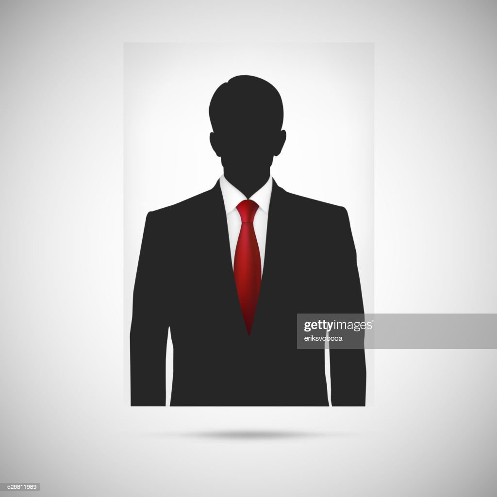 Profile picture whith red tie. Unknown person silhouette
