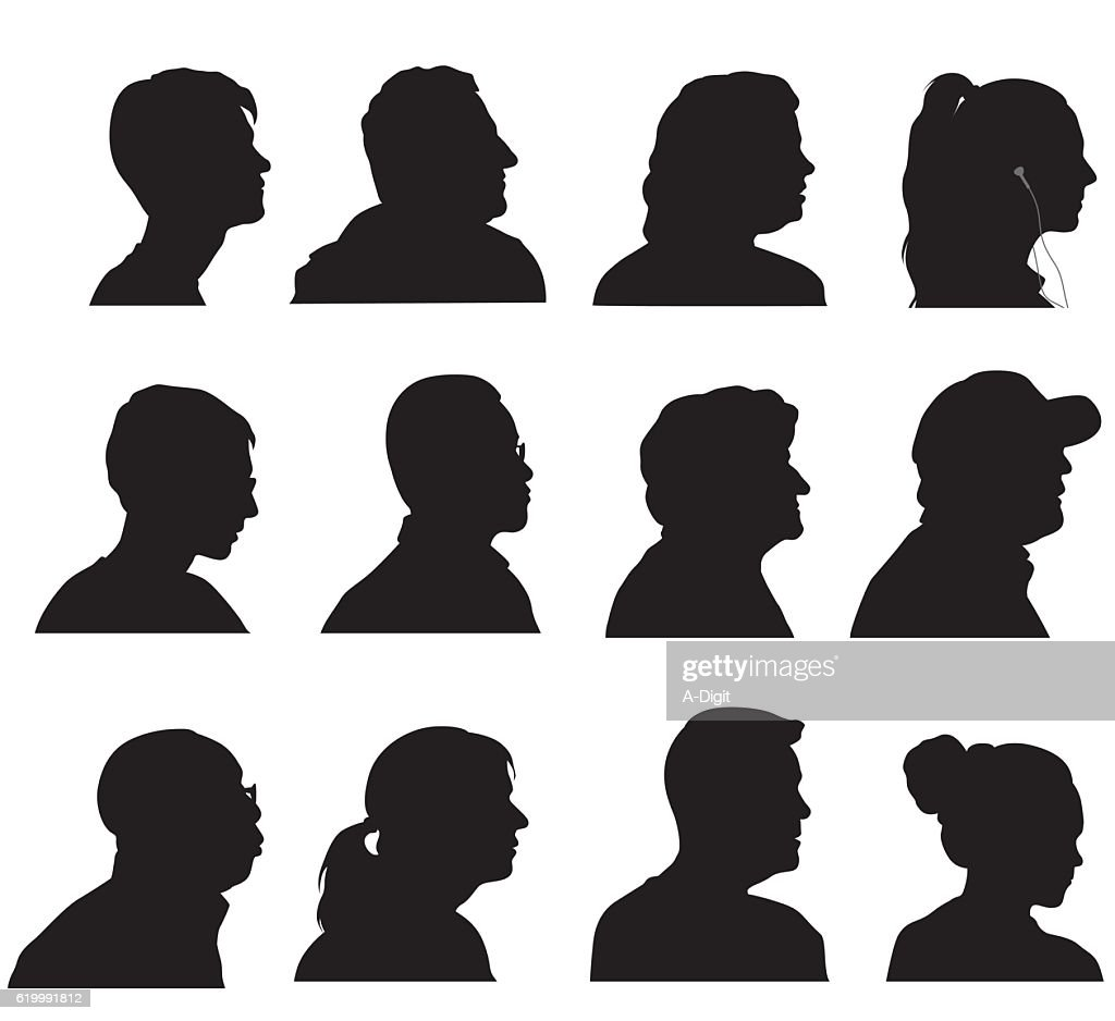 Profile Silhouette Heads : stock illustration