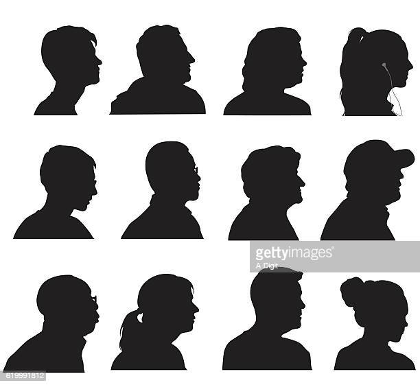profile silhouette heads - mature adult stock illustrations