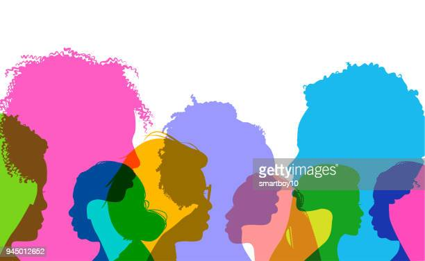 profile silhouettes african american women - side view stock illustrations