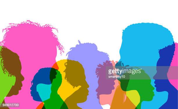 Profile silhouettes African Americans