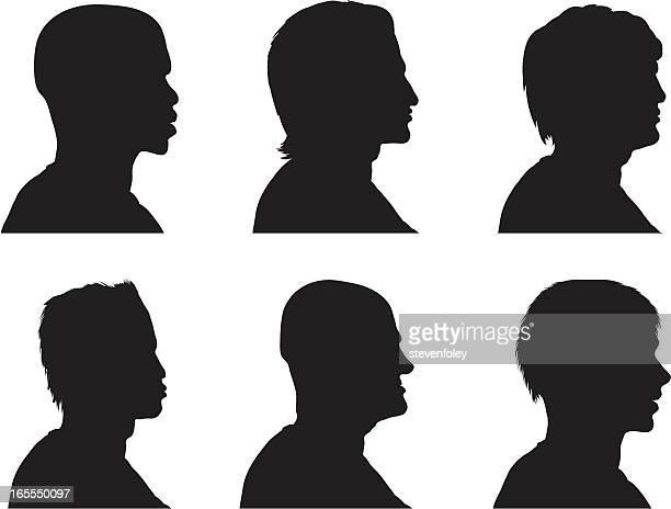 背型シルエット-男子 - 白人点のイラスト素材/クリップアート素材/マンガ素材/アイコン素材