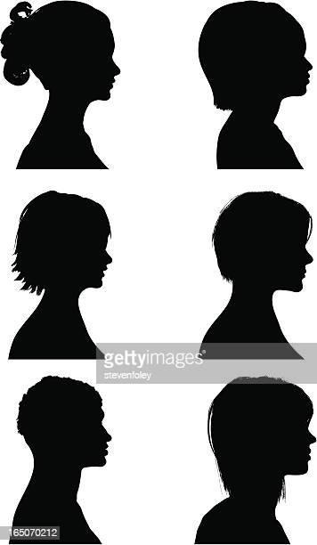 背型シルエット-女子 - ショートヘア点のイラスト素材/クリップアート素材/マンガ素材/アイコン素材