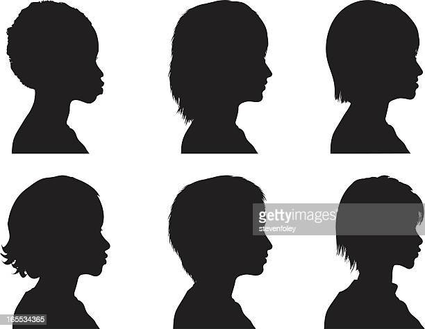 profile silhouettes - women - mature adult stock illustrations
