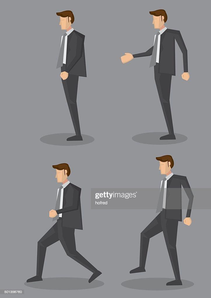 Profile View of Businessman in Black Corporate Suit Vector Illus