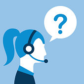profile woman agent headset question mark customer service