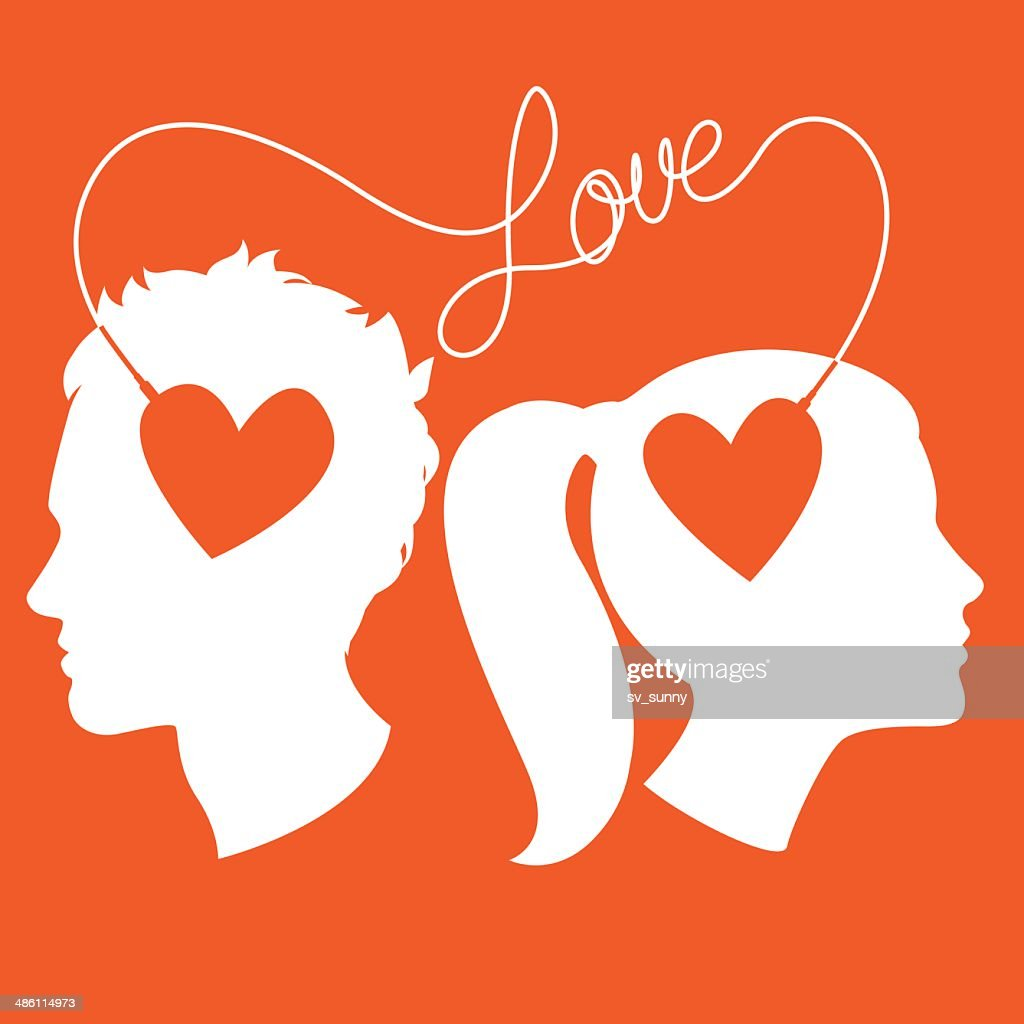 Profiles of man and woman connected by love wire
