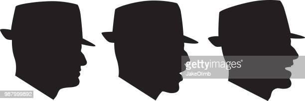 profiles of man wearing hat talking silhouettes - side view stock illustrations, clip art, cartoons, & icons
