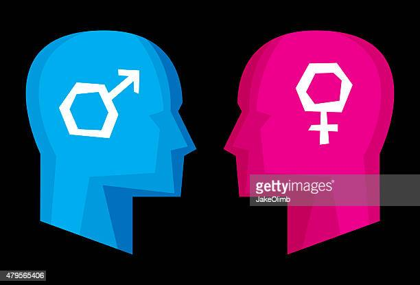 profiles sex symbols stylized - battle of the sexes concept stock illustrations