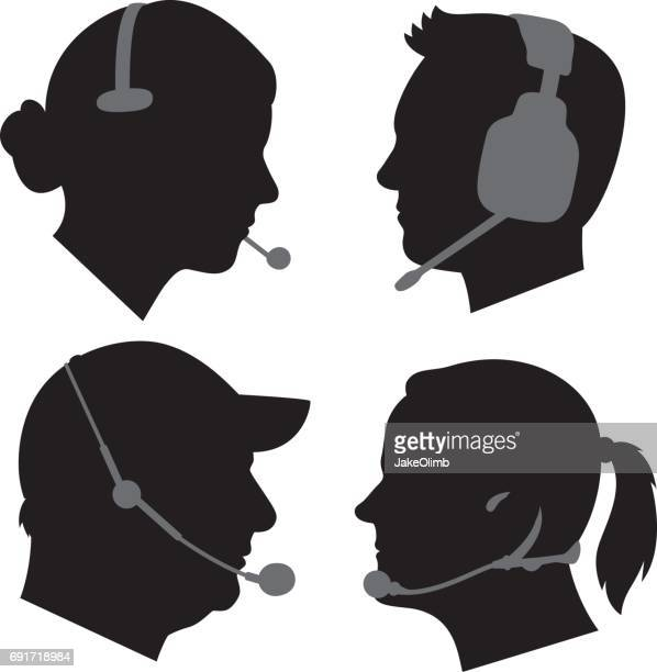 Profiles Wearing Headsets Silhouettes