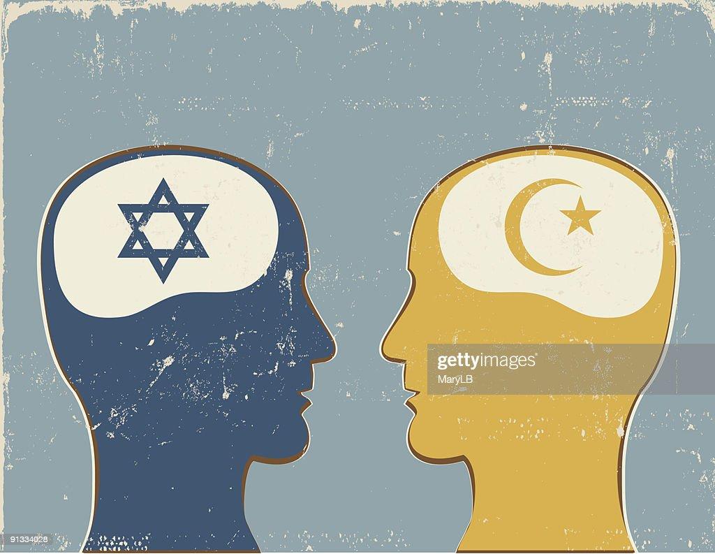 Profiles with Islamic and Jewish symbols.