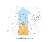 Profit, finances and investment management, budget planning, compound interest, income - vector illustration