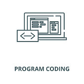 Program coding vector line icon, linear concept, outline sign, symbol
