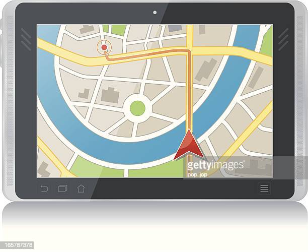 gps program on the screen of a tablet - interactivity stock illustrations, clip art, cartoons, & icons