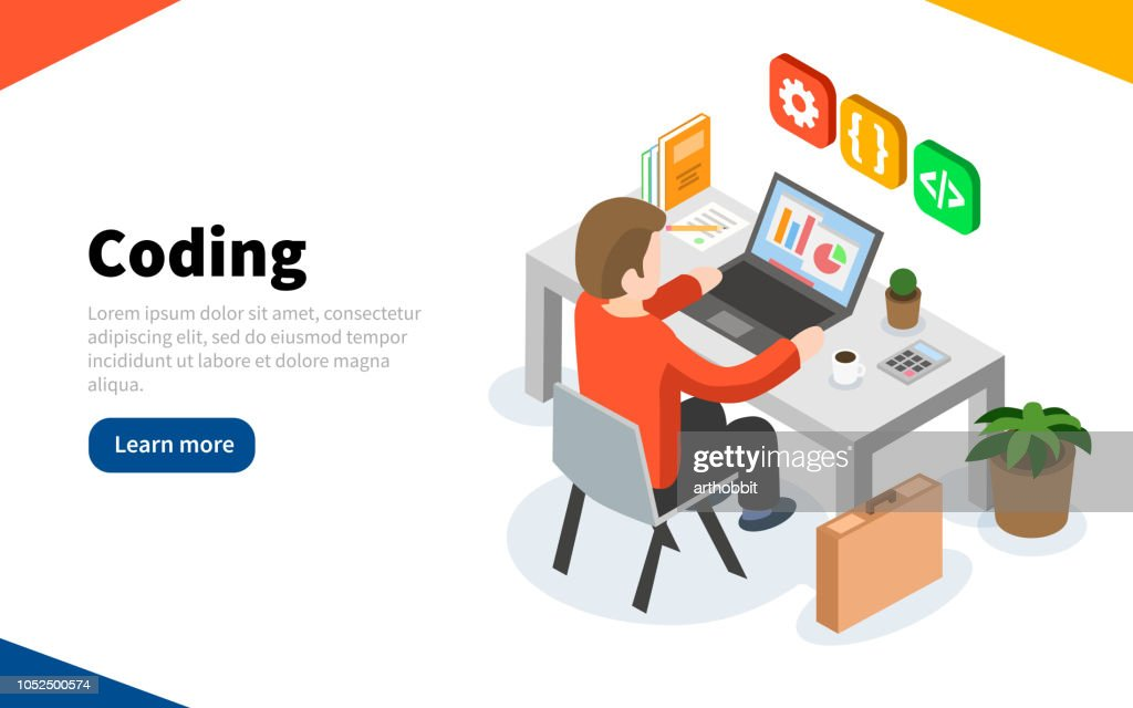 Programmer at work concept. Coding or online programming education. Flat isometric vector illustration. Web Page template. Vector illustration
