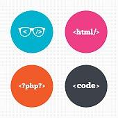 Programmer coder glasses. HTML markup language