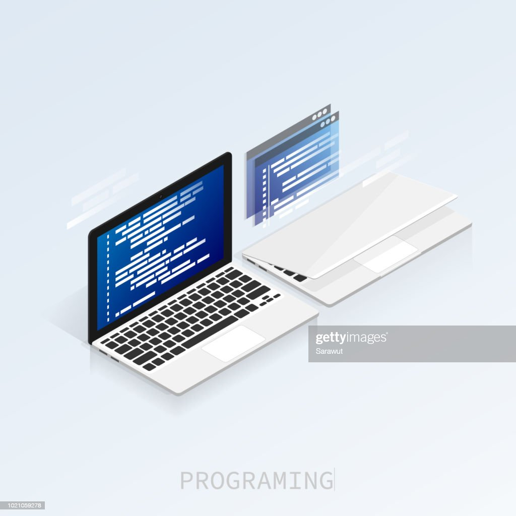 programmer coding binary computer isometric flat vector