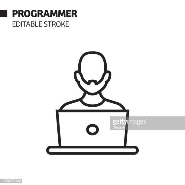 illustrations, cliparts, dessins animés et icônes de icône de ligne de programmeur, illustration de symbole de vecteur de d'contour. pixel perfect, avc modifiable. - génération du millénaire