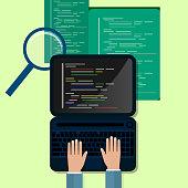 Programming and coding concept, website development, Web Design. Flat Illustration